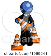 Blue Clergy Man Holding A Traffic Cone