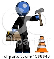 Blue Clergy Man Under Construction Concept Traffic Cone And Tools
