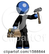 Blue Clergy Man Holding Tools And Toolchest Ready To Work