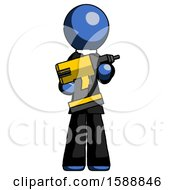 Blue Clergy Man Holding Large Drill