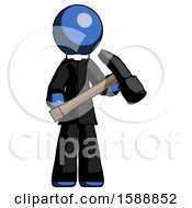 Blue Clergy Man Holding Hammer Ready To Work
