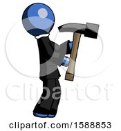 Blue Clergy Man Hammering Something On The Right