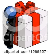 Blue Clergy Man Leaning On Gift With Red Bow Angle View