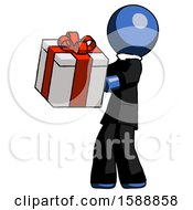 Blue Clergy Man Presenting A Present With Large Red Bow On It