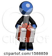 Blue Clergy Man Gifting Present With Large Bow Front View