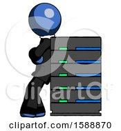 Blue Clergy Man Resting Against Server Rack