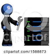 Blue Clergy Man Server Administrator Doing Repairs