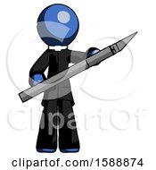 Blue Clergy Man Holding Large Scalpel