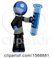 Blue Clergy Man Holding Large Test Tube