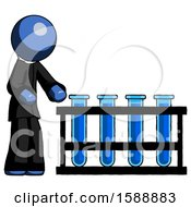 Blue Clergy Man Using Test Tubes Or Vials On Rack