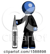 Blue Clergy Man Standing With Large Thermometer