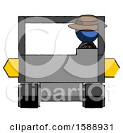Blue Detective Man Driving Amphibious Tracked Vehicle Front View