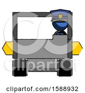 Blue Police Man Driving Amphibious Tracked Vehicle Front View