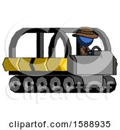 Blue Detective Man Driving Amphibious Tracked Vehicle Side Angle View
