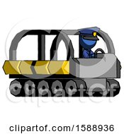 Blue Police Man Driving Amphibious Tracked Vehicle Side Angle View