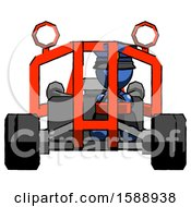 Blue Police Man Riding Sports Buggy Front View