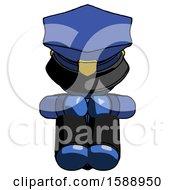 Blue Police Man Sitting With Head Down Facing Forward