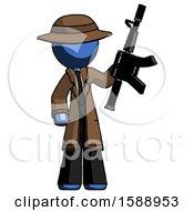 Blue Detective Man Holding Automatic Gun