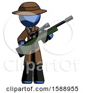 Blue Detective Man Holding Sniper Rifle Gun