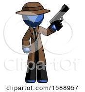 Blue Detective Man Holding Handgun
