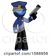 Blue Police Man Holding Handgun