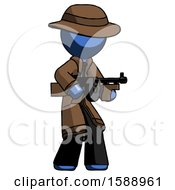 Blue Detective Man Tommy Gun Gangster Shooting Pose