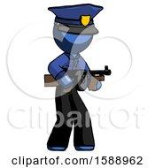 Blue Police Man Tommy Gun Gangster Shooting Pose