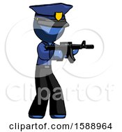 Blue Police Man Shooting Automatic Assault Weapon
