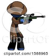 Blue Detective Man Shooting Sniper Rifle