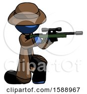 Blue Detective Man Kneeling Shooting Sniper Rifle