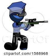 Blue Police Man Kneeling Shooting Sniper Rifle