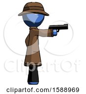 Blue Detective Man Firing A Handgun
