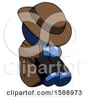 Blue Detective Man Sitting With Head Down Facing Angle Right