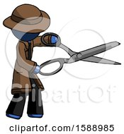 Blue Detective Man Holding Giant Scissors Cutting Out Something