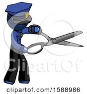 Blue Police Man Holding Giant Scissors Cutting Out Something