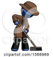 Blue Detective Man Cleaning Services Janitor Sweeping Side View