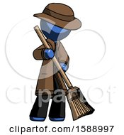 Blue Detective Man Sweeping Area With Broom