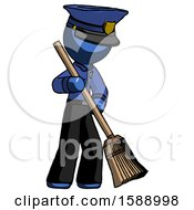 Blue Police Man Sweeping Area With Broom