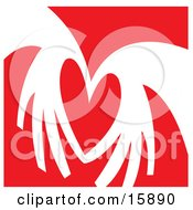 Pair Of Hands Coming Together To Form The Shape Of A Heart Over A Red Background Clipart Illustration