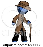 Blue Detective Man Walking With Hiking Stick