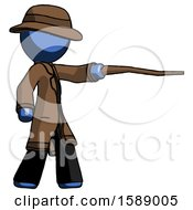 Blue Detective Man Pointing With Hiking Stick
