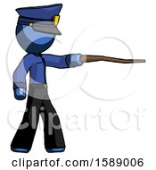 Blue Police Man Pointing With Hiking Stick