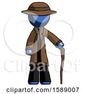 Blue Detective Man Standing With Hiking Stick