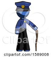 Blue Police Man Standing With Hiking Stick