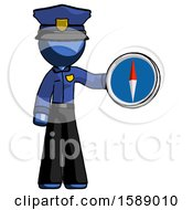 Blue Police Man Holding A Large Compass