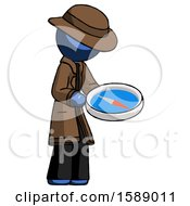 Blue Detective Man Looking At Large Compass Facing Right