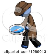 Blue Detective Man Walking With Large Compass