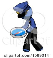 Blue Police Man Walking With Large Compass