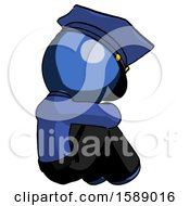 Blue Police Man Sitting With Head Down Back View Facing Right