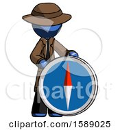 Blue Detective Man Standing Beside Large Compass